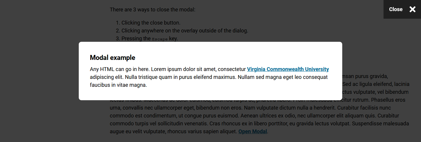 Example of the Compass modal component opened